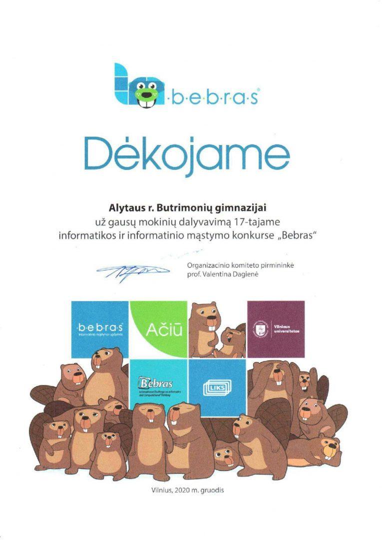 Padėka Bebras