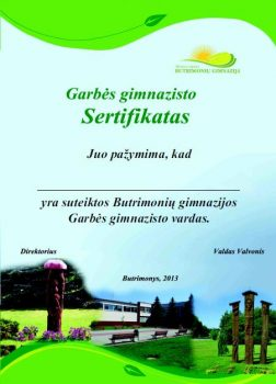 Butrimonių gimnazijos Garbės sertifikatas